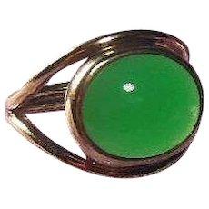 Vintage Chrysoprase Cabochon, 9 Carat Gold Dress Ring English Hallmarked