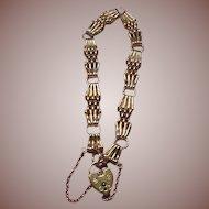 English Arts and Crafts 9 Carat Gold Gate Link Heart Padlock Bracelet 11.5 grams