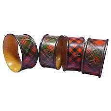 Scottish Tartan Plaid Napkin Rings, Stuart, Prince Charlie, McBeth, Rob Roy Patterns, Set of Four