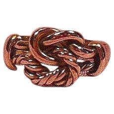English 9 Carat Gold Love Knot/Keeper Ring Hallmarked 1884.