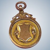 9 Carat Gold English Watch Trophy Fob/Pendant/Charm 1929-30