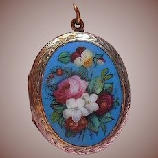Sterling Silver (925/1000) and Enamel Florals Bouquet Locket Circa 1920-40