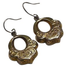 Antique Victorian 1837-1901 9 Carat Gold Overlay Hand Engraved Pendant Earrings