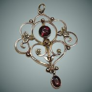 Edwardian 9 Carat Gold Garnet and Seed Pearl Lavalier Pendant