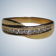 Beautiful Vintage 18 Carat Gold and Channel Set Diamond Dress/Wedding Band Ring