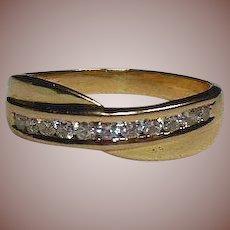 Beautiful Vintage 18 Carat Gold and Channel Set Diamond Dress/Wedding Band Ring
