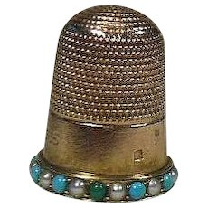 Antique 15 Carat Gold Thimble, Seed Pearl and Turquoise Gem, Circa 1915