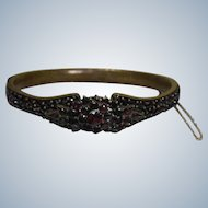Antique Victorian Bohemian Garnet Bangle circa 1880-1900