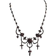 Antique Victorian Fringe Bohemian Garnet Necklace 1880-1900