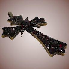 Arts and Crafts Bohemian Rose Cut Garnet Cross Pendant