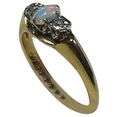 Vintage Opal and Diamond 18 Carat Gold Dress Ring size 6.5