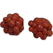 Vintage Salmon Coral Clip Earrings