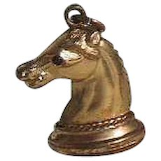 Vintage Horse Head G/F Fob/Pendant/Charm with Tiger Eye Gem