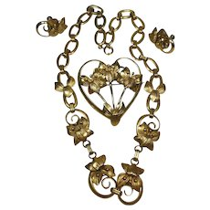 Vintage G.F. 1/20 12 Karat Gold Filled Book Chain Necklace in Flower Design with Heart Pendant attachment, and Pair of Screw Back Earrings