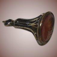 Victorian (1837-1901)English 9 Karat Gold(.375/1000) Overlay, Carnelian Intaglio carved Fob/Charm/ Pendant