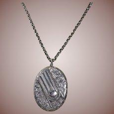 Large Victorian(1837-1901) Sterling Silver Button Cuff Design Locket and Belcher Neck Chain