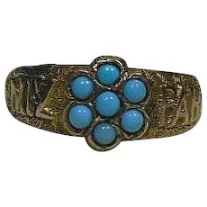 English Arts and Crafts 9 Karat Gold and Turquoise Color Stones- Mizpah Ring Size 7