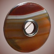 Antique Scottish Banded Agate Brooch, Circa 1900