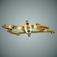English 9 Karat (.375), Garnet and Old Cut Diamond Sweetheart Brooch, Hallmarked