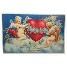 Antique For-get-me-nots, Cupids and Heart Valentine Post Card Post Marked 1913