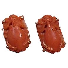 Carved Salmon Coral Pierced Earrings- Pear Shaped, 14 Carat Gold Setting