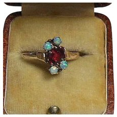 Vintage 9 Karat Gold Garnet and Opal Dress Ring