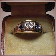 English 15 Karat Gold, Sapphire and Diamond Dress Ring Hallmarked