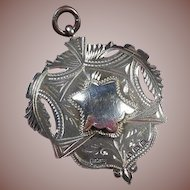 Large Sterling Silver Double Cartouche English Trophy/Fob/Pendant/Charm Hallmarked-1911