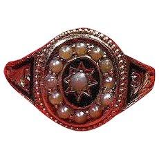 Antique English- Black Enamel and Seed Pearl Mourning Ring, Hallmarked Circa 1790-1830-Georgian