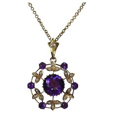 9 Carat Gold Edwardian Amethyst and Seed Pearl Pendant