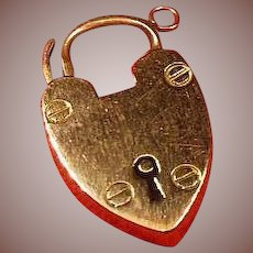 Antique English 9 Carat Rose Gold(.375) Heart Padlock Pendant/Charm/Keepsake Circa 1900-1915