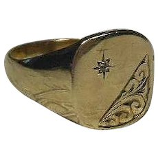Vintage English 9 Carat Gold(.375) and Diamond Engraved Signet Ring