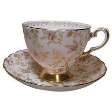 Tuscan English Bone ChinaTea Cup and Saucer-Pink/Gold H/P Rose Buds-Circa 1950-60's