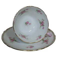 Shelley English Bone China Tea Cup and Saucer-Rose Spray -1940-60's