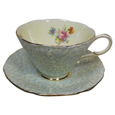 Fine English Paragon Tea Cup and Saucer-Rose-forget-me-not and Daffodil-Circa 1930-50's