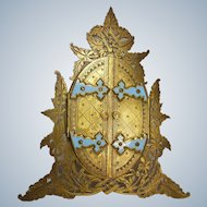 Antique Engraved Gilt Brass and Enamel- Closure Frame circa 1870-1890's