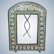 Beautiful Antique Mosaic Frame- circa 1900-1915- Daisy Flower Design