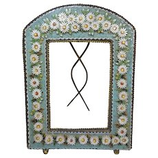 Beautiful Antique Mosaic Frame- circa 1900-1915- Daisy Flower Design