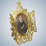 Antique Double Closure Gilt Brass Photo Frame with Lady Portrait Photograph- Circa 1850-1900