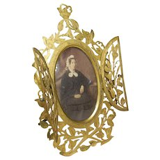 Antique Double Closure Gilt Brass Photo Frame with Lady Portrait Photograph- Circa 1850-1900