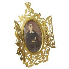 Antique Double Closure Bronze Photo Frame with Lady Portrait Photograph- Circa 1870-1900