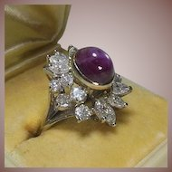 Incredible 14 Carat White Gold Diamond and Ruby Dress Ring