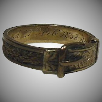 English Mourning Ring- Braided Hair and 9 Carat Gold Band- Dated 1858