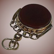 Antique 9 Carat Rose Gold HM English Spinner Fob/Pendant/Charm-Carnelian and Bloodstone circa 1902