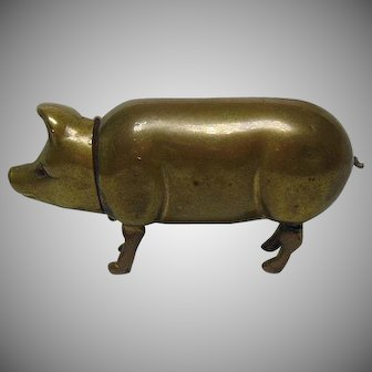 Vintage Brass Pig Lipstick Holder