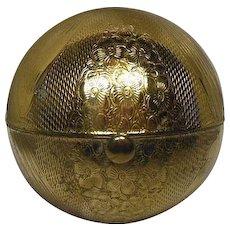 Pygmalion Globe Compact-Gold Tone Engine Designed Pattern- Circa 1950's