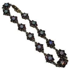 Vintage Garnet and Opal Rosette Sectioned Bracelet Set in Gilt Sterling Silver(925/1000)