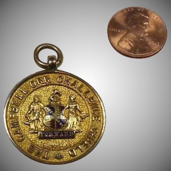 9 Carat Gold and Enamel Pendant/Trophy/Medallion/Charm