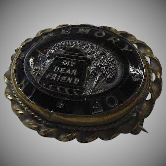"""Victorian (1837-1901)  Mourning Brooch """"MY Dear Friend"""" Tomb and Weeping Willow"""