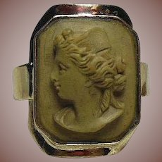 Victorian(1837-1901) Grand Tour Lava Cameo set in Modern 14 Carat Gold(.585) Ring